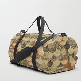 Brown Copper Glamour Mermaid Scale Pattern Duffle Bag