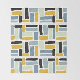 Abstract yellow black geometric modern brushstrokes  pattern Throw Blanket