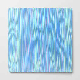 Colorful stripes over blue Metal Print