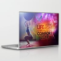 crossfit Laptop & iPad Skins featuring CrossFit - Life Begins At the Edge of Your Comfort Zone. by Carlz James Söda