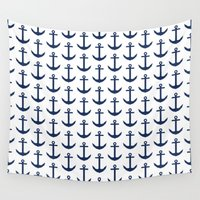 preppy Wall Tapestries featuring Preppy Anchor Pattern - White and Navy Blue Nautical by Nautical Home Decor & Beach House Decor