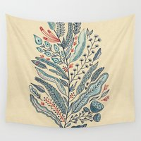 leaf Wall Tapestries featuring Turning Over A New Leaf by Monica Gifford