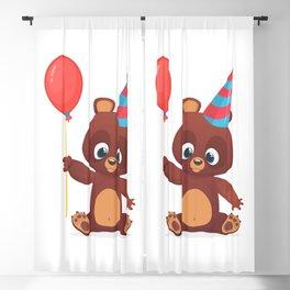 Cartoon Funny Bear Holding Baloon Blackout Curtain