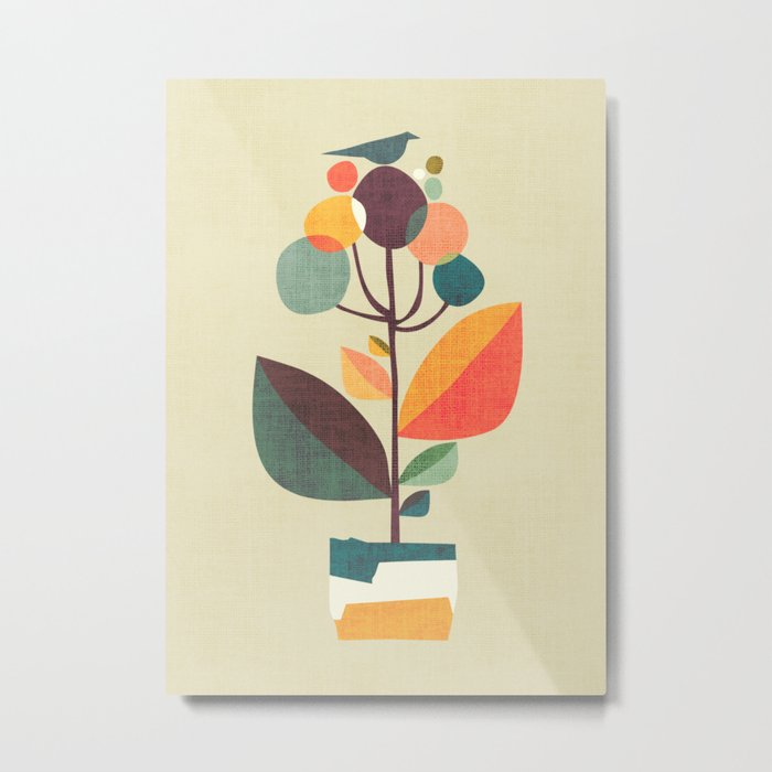 Potted plant with a bird Metal Print