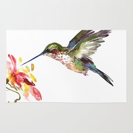 Hummingbird and Flower Rug