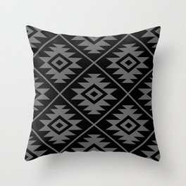Aztec Symbol Pattern Gray on Black Throw Pillow