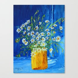 Daisies by the blue wall  Canvas Print