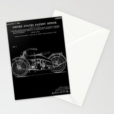 Motorcycle Patent - Black Stationery Cards