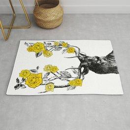 The Stag and Roses | Deer and Flowers | Yellow | Vintage Stag | Vintage Deer | Antlers | Woodland | Rug
