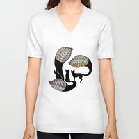 foxes V-neck T-shirts featuring Foxes by Alexandra Boman