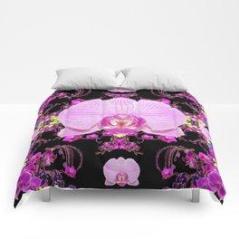 Purple Orchids Pattern Fantasy Yellow Black Art Pattern Comforters