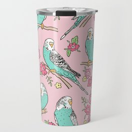 Budgie Birds With Blossom Flowers on Pink Travel Mug