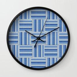 Blue check waves Wall Clock