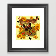 Abstracted Black & Orange Monarch Butterflies & Sunflowers Framed Art Print