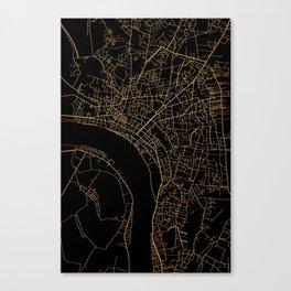 Vientiane map, Laos Canvas Print