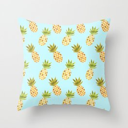 Blue Tropical Pineapple Pattern Throw Pillow