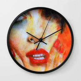 Title: Pastel Portrait - Orange Passion Wall Clock