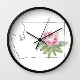 washington // watercolor rhododendron state flower map Wall Clock