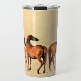 Classical Master Piece Circa 1762  Rockingham Mares and Foals by George Stubbs Travel Mug
