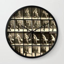 Eadweard Muybridge Photo Motion Study Man With Cane Hat And Bag Wall Clock