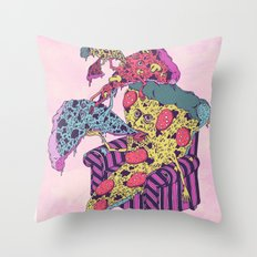 Pizza Eating Pizza - Pink Edition Throw Pillow