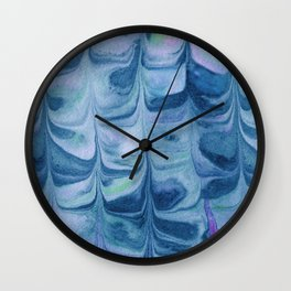 Blue Marbled Paper Wall Clock