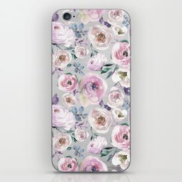 Hand painted blush pink gray violet watercolor roses floral iPhone Skin