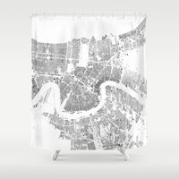 new orleans Shower Curtains featuring NEW ORLEANS by Maps Factory