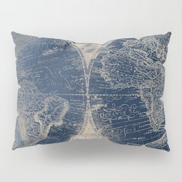 Antique World Map Gold Navy Blue Library Pillow Sham