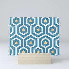 Meandering hexagons in a summerish design Mini Art Print