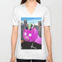 invader zim V-neck T-shirts featuring Invader Zim by inusualstuff