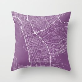 Chula Vista Map, USA - Purple Throw Pillow