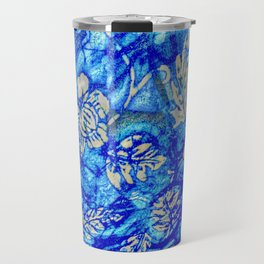 Breath Taking Light Blue Abstract Leaf Travel Mug
