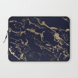 Modern luxury chic navy blue gold marble pattern Laptop Sleeve