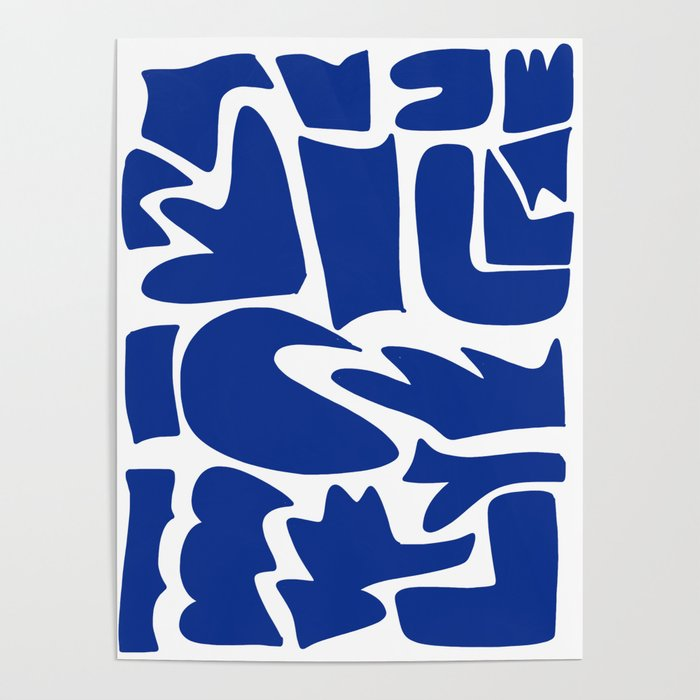 Blue shapes on white background Poster