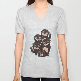 Otters dazzling the audience Unisex V-Neck