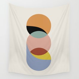 Geometric Harmony - Vintage Rainbow Colors Wall Tapestry