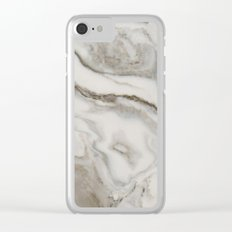 Marble - Earthy Black and White Swirl Marble Texture Clear iPhone Case