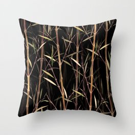 Dry Bamboo Forest at Night Throw Pillow
