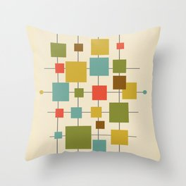 Mid-Century Modern Geometric Abstract Squares - Multi-colour Throw Pillow