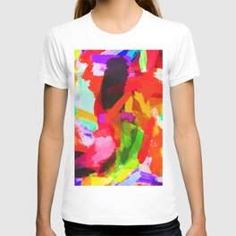 red orange blue green purple painting texture abstract background T-shirt