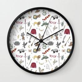 Magic School - wizard, broom, sword, badger, lion, raven, snake, owl, hat, magic school, fantasy Wall Clock