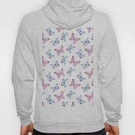 Artistic hand painted pink teal watercolor butterfly pattern Hoody