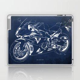 22-2013 HP4 BLUE, Blueprint motorcycle Laptop & iPad Skin