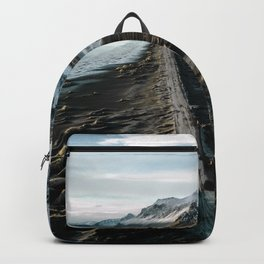 Icelandic black sand beach and mountain road - landscape photography Backpack