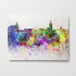 Brasov skyline in watercolor background Metal Print
