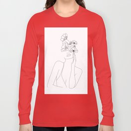 Minimal Line Art Woman with Flowers Long Sleeve T-shirt