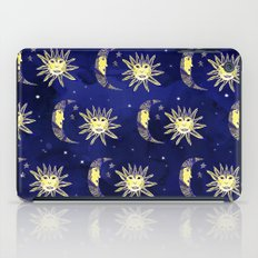 Cosmos sun moon and stars pattern blue watercolor  iPad Case
