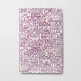 Christmas market toile purple Metal Print