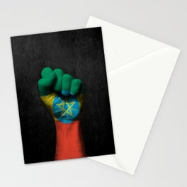 Ethiopian Flag on a Raised Clenched Fist Stationery Cards